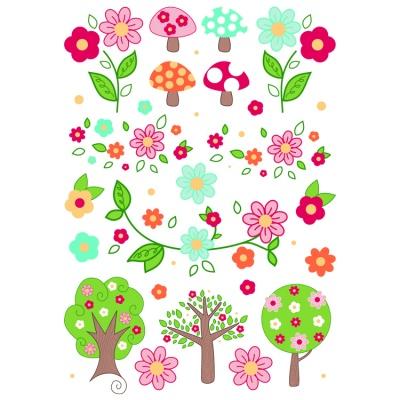 IM001122 Rub On Happy Flowers